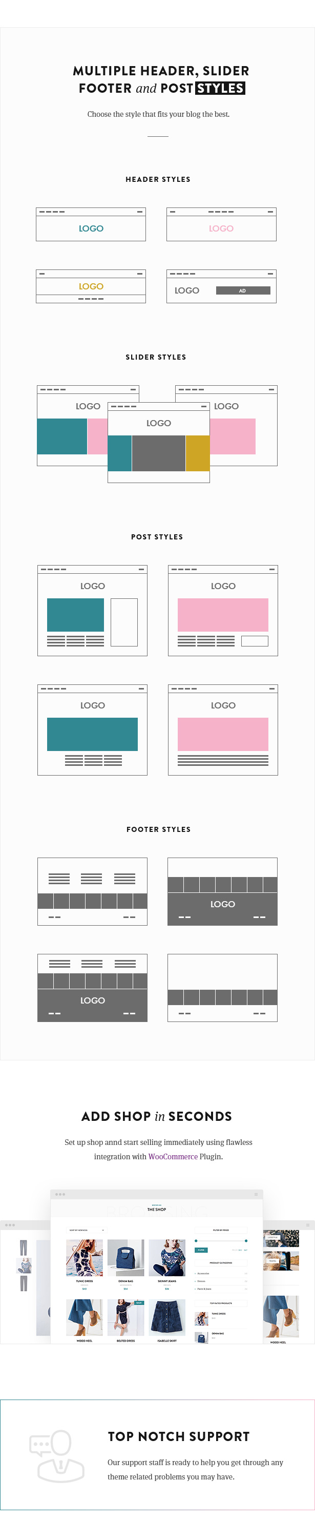 Multiple header, slider and footer styles