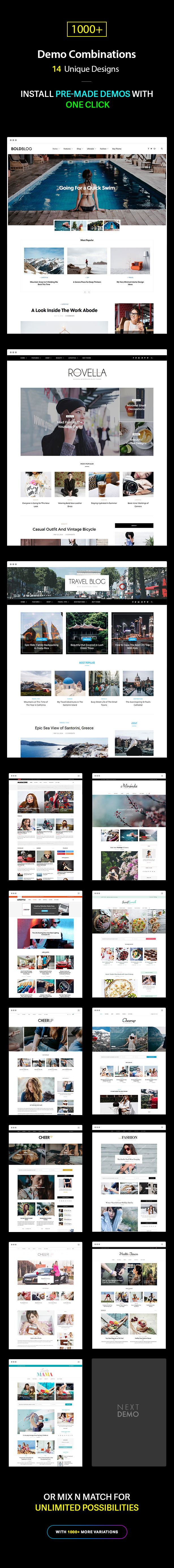 Multiple Blog and Magazine Layouts, 14+ Unique Designs