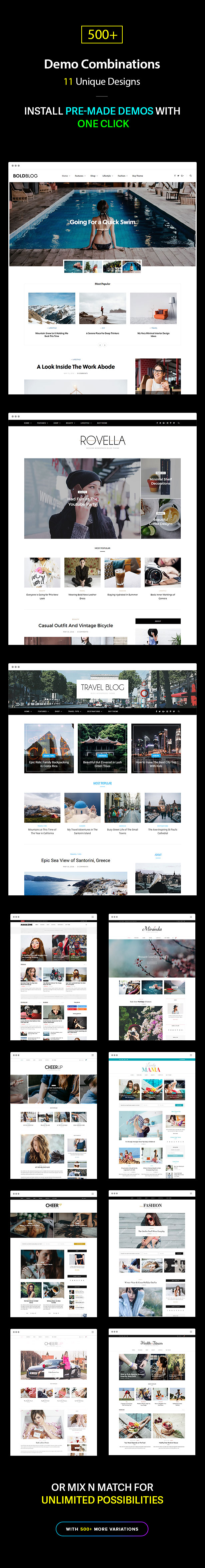 Multiple Blog and Magazine Layouts, 11+ Unique Designs