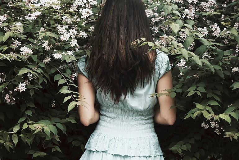 White dress girl in nature