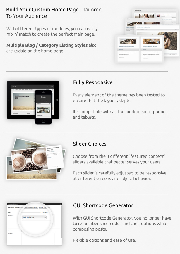 Fully responsive, slider choices, category templates and more